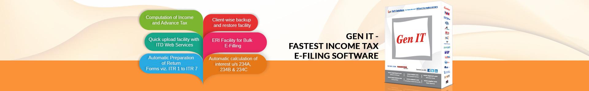 Gen Income Tax Software for Fastest IT Return E Filing | SAG
